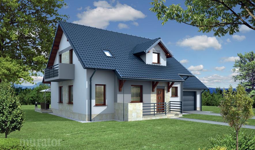EC110d Dom za rogiem - wariant IV (z wentylacją mechaniczną i rekuperacją)