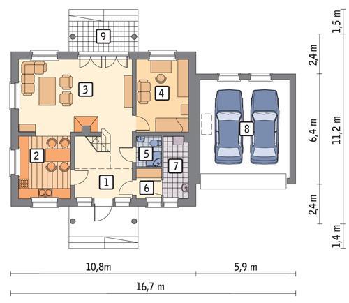 Rzut parteru POW. 104,2 m²