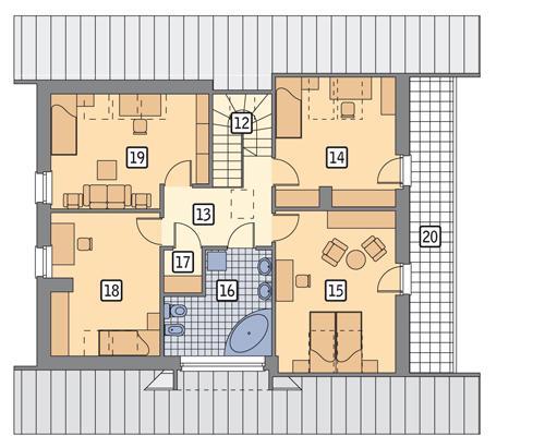 Rzut poddasza POW. 101,7 m²
