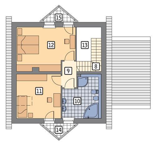 Rzut poddasza POW. 60,8 m²