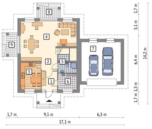 Rzut parteru POW. 109,5 m²