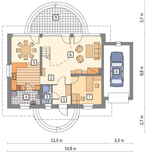 Rzut parteru POW. 95,3 m²