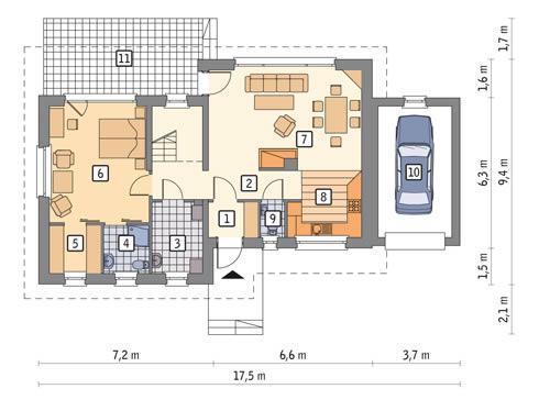 Rzut parteru POW. 100,5 m²