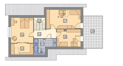 Rzut poddasza POW. 106,8 m²