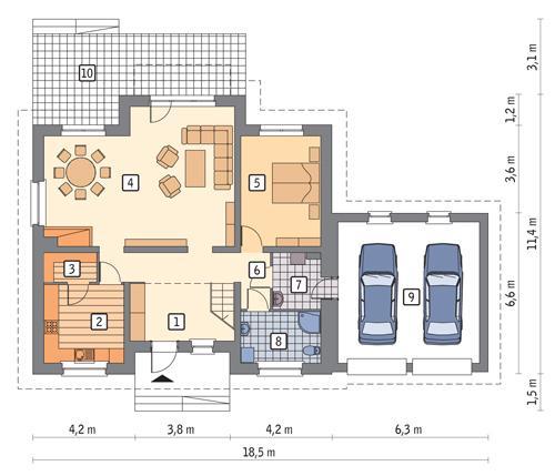 Rzut parteru POW. 129,8 m²