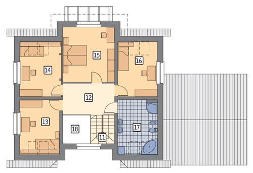 Rzut poddasza POW. 92,5 m²