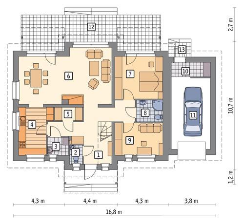 Rzut parteru POW. 120,0 m²