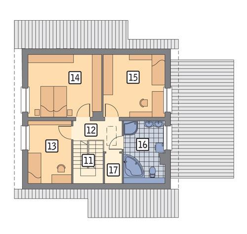 Rzut poddasza POW. 62,3 m²