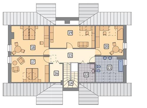 Rzut poddasza POW. 116,9 m²