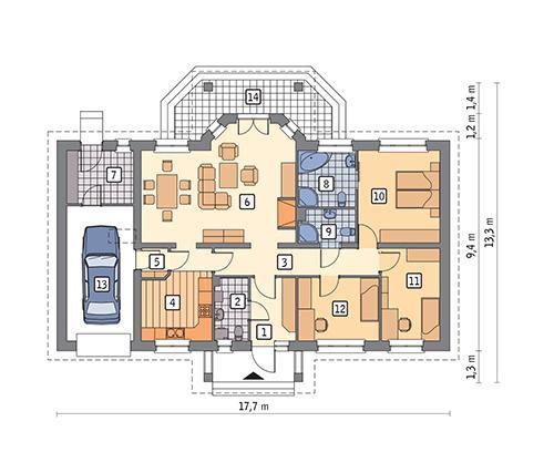 Rzut parteru POW. 134,5 m²