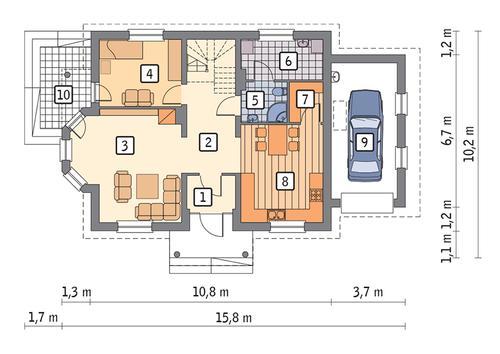 Rzut parteru POW. 95,4 m²