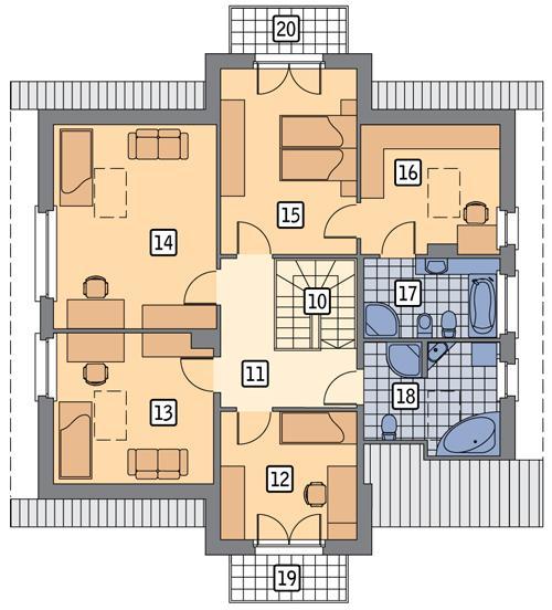 Rzut poddasza POW. 109,0 m²