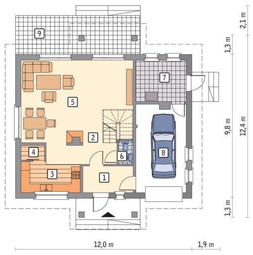 Rzut parteru POW. 95,1 m²