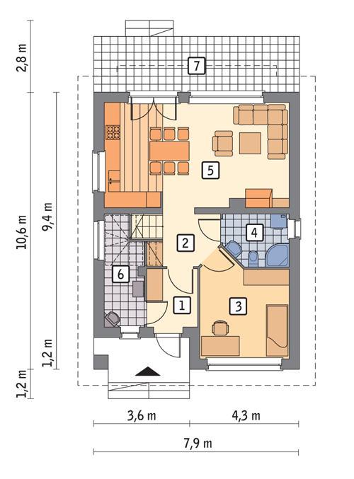 Rzut parteru lustro POW. 58,2 m²