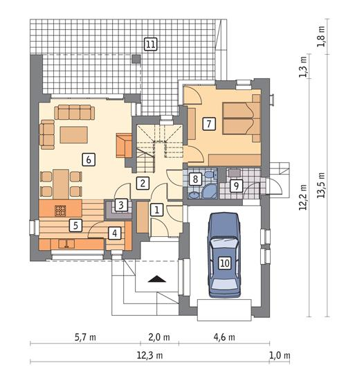 Rzut parteru POW. 86,5 m²