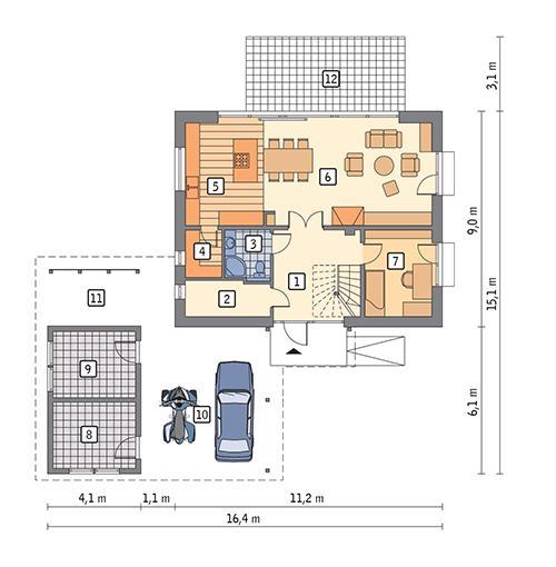 Rzut parteru POW. 77,5 m²