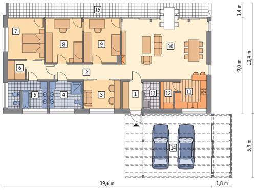 Rzut parteru POW. 145,6 m²