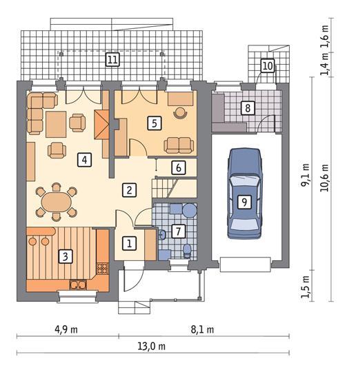 Rzut parteru POW. 94,8 m²