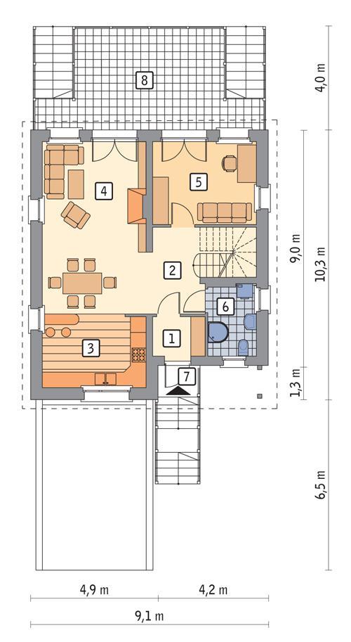 Rzut parteru POW. 90,4 m²