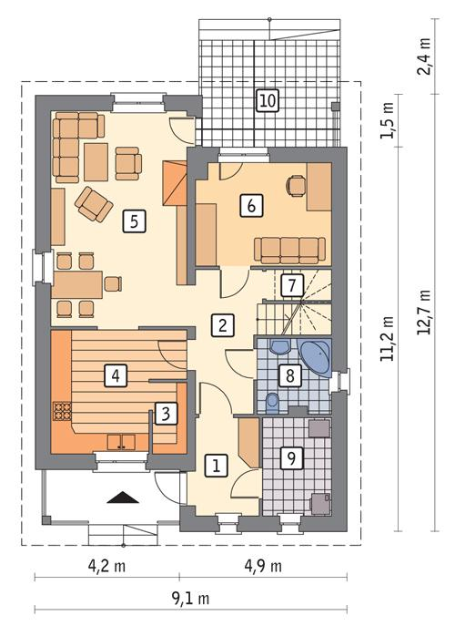 Rzut parteru POW. 74,0 m²