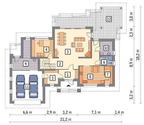 Rzut parteru POW. 165,7 m²