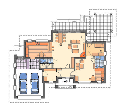 Rzut parteru: Wariant rzutu z dodatkowym mieszkaniem