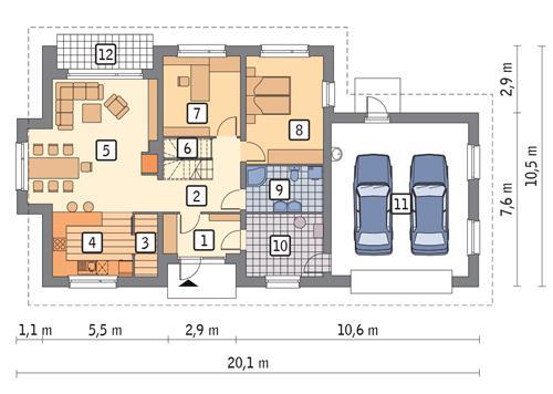 Rzut parteru POW. 137,5 m²
