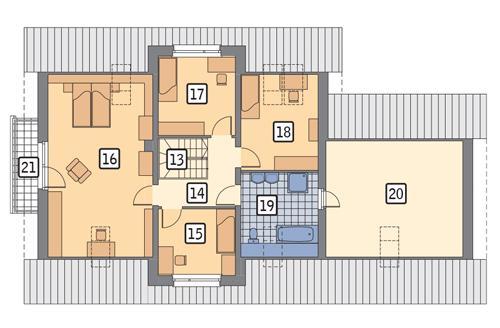 Rzut poddasza POW. 115,3 m²