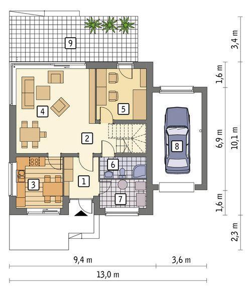 Rzut parteru POW. 91,4 m²