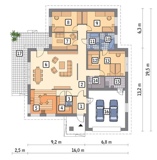 Rzut parteru POW. 208,3 m²