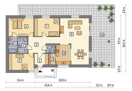 Rzut parteru POW. 119,5 m²