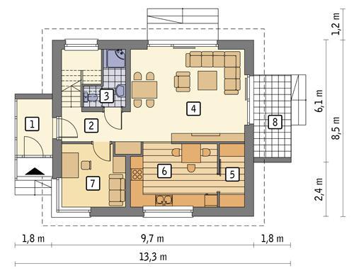 Rzut parteru POW. 62,5 m²