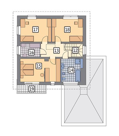Rzut piętra POW. 81,5 m²