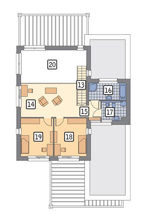 Rzut piętra POW. 69,2 m²