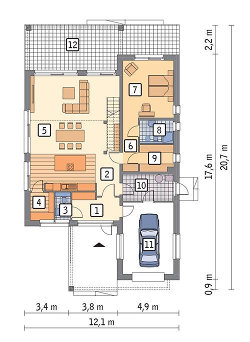 Rzut parteru POW. 138,7 m²