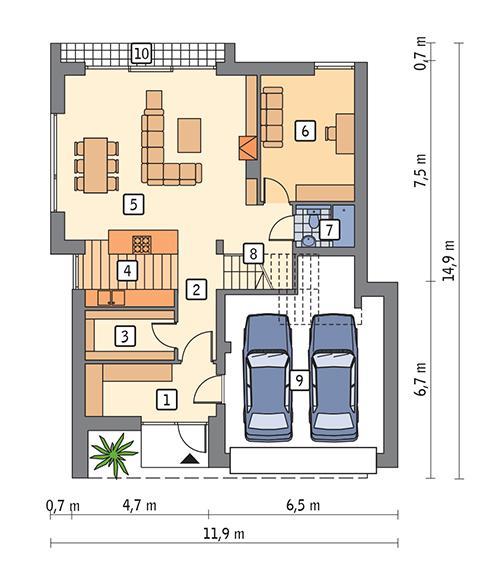 Rzut parteru POW. 115,0 m²