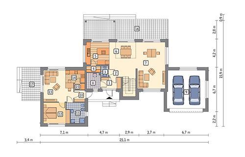 Rzut parteru POW. 158,9 m²