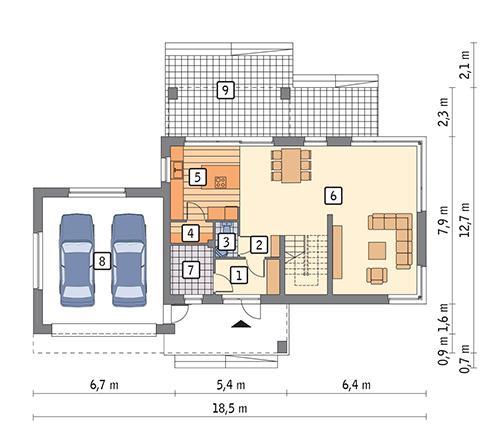 Rzut parteru POW. 111,4 m²