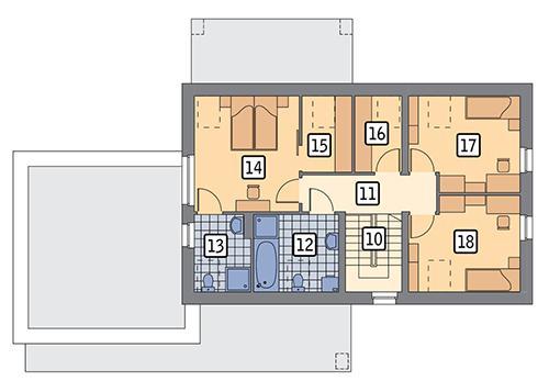 Rzut poddasza POW. 74,1 m²