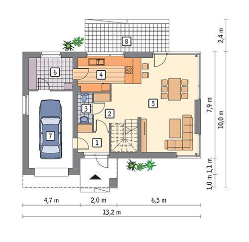 Rzut parteru POW. 84,0 m²