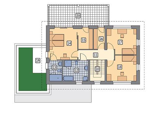 Rzut piętra POW. 101,2 m²