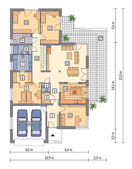 Rzut parteru POW. 196,1 m²