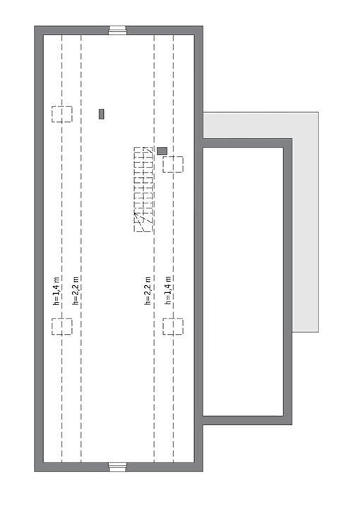 Rzut poddasza: do indywidualnej adaptacji (92,4 m2 powierzchni użytkowej)