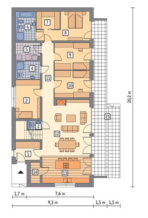 Rzut parteru POW. 139,5 m²