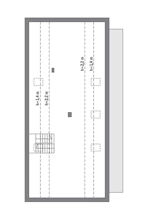 Rzut poddasza: do indywidualnej adaptacji (97,7 m2 powierzchni użytkowej)