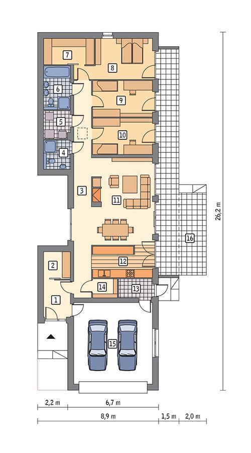 Rzut parteru POW. 164,3 m²