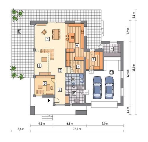 Rzut parteru POW. 186,3 m²