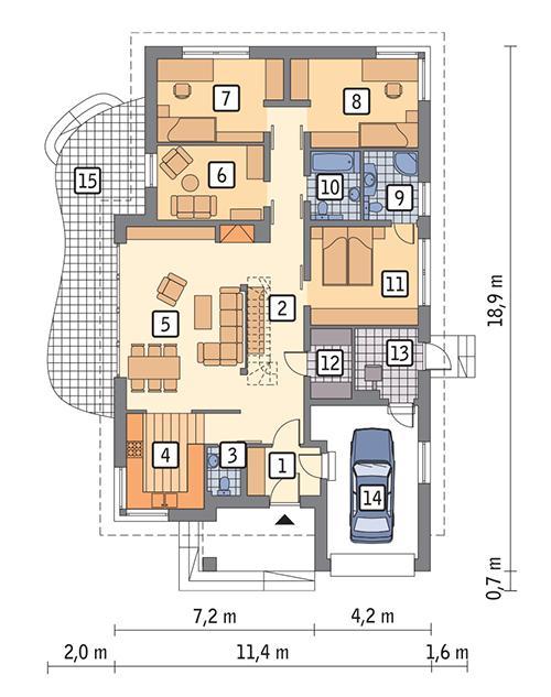 Rzut parteru POW. 147,4 m²