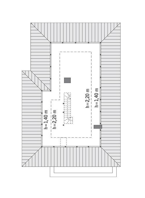 Rzut poddasza: do indywidualnej adaptacji (60,4 m2 powierzchni użytkowej)