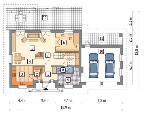 Rzut parteru POW. 123,6 m²